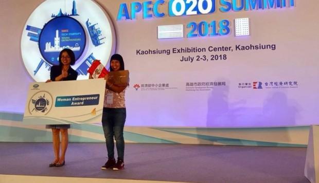 Peruana gana premio por emprendimiento en Taiwán